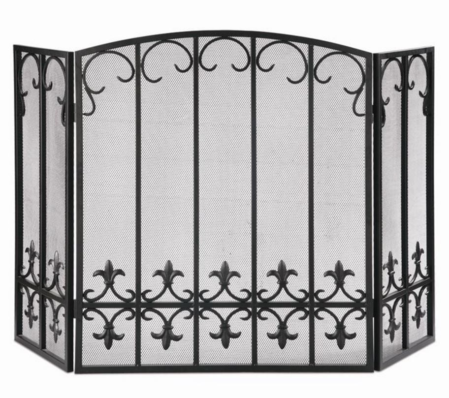 Fireplace Screen - Black Iron Fleur de Lis
